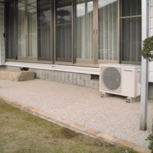 ンクリートの土間を天然石舗装材バロンストーン
