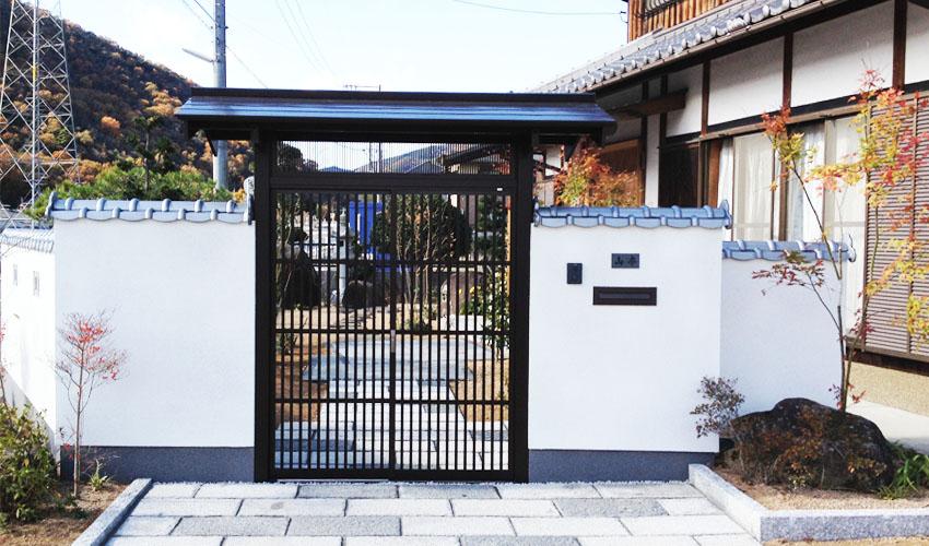 数寄屋門で格調高い純和風の門まわり 備前市Y様   岡山で建材 ...